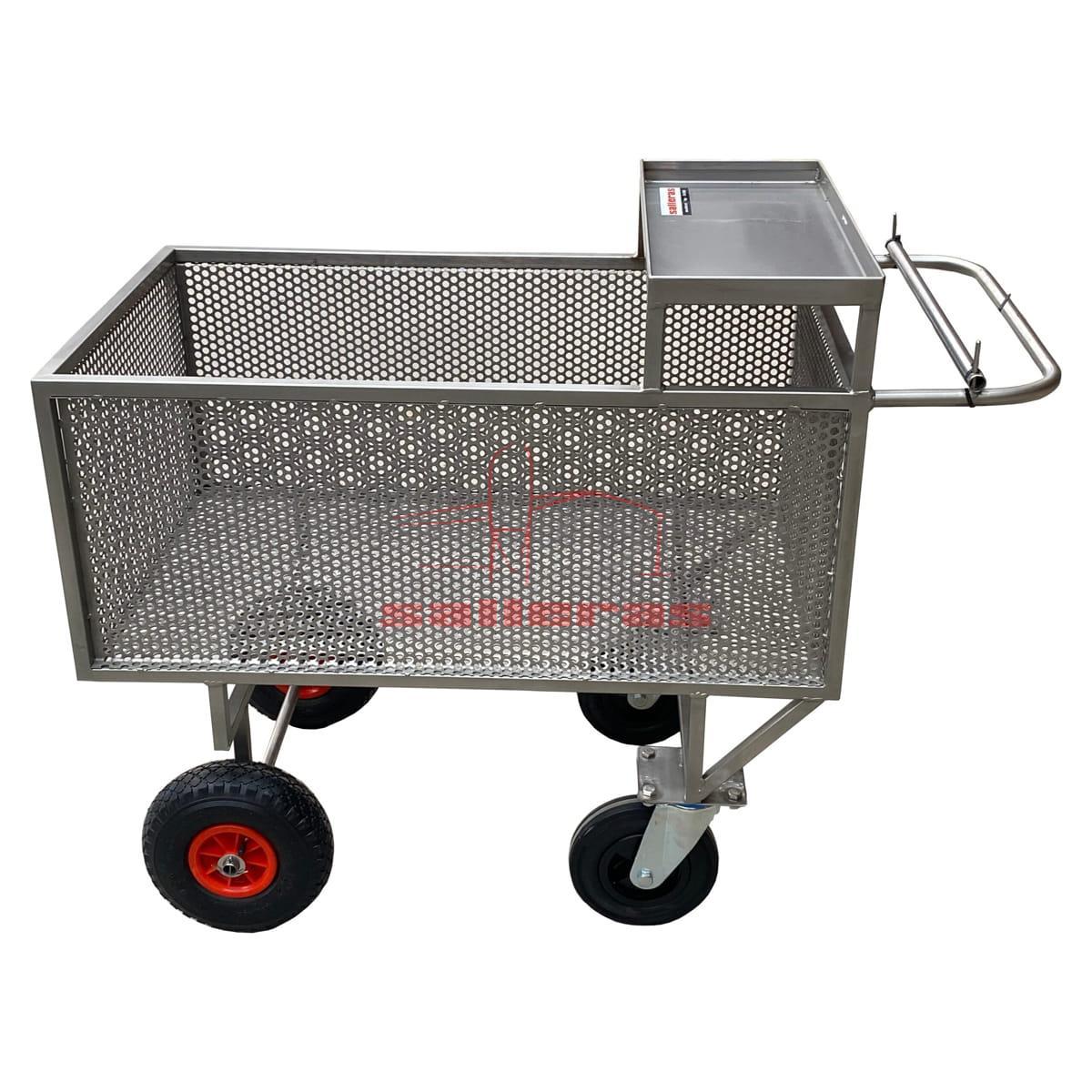 Carro de acero inoxidable con chapa perforada y cuatro ruedas