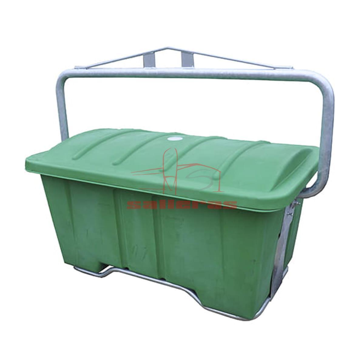 Contenedor de plastico verde de 950 litros con asa