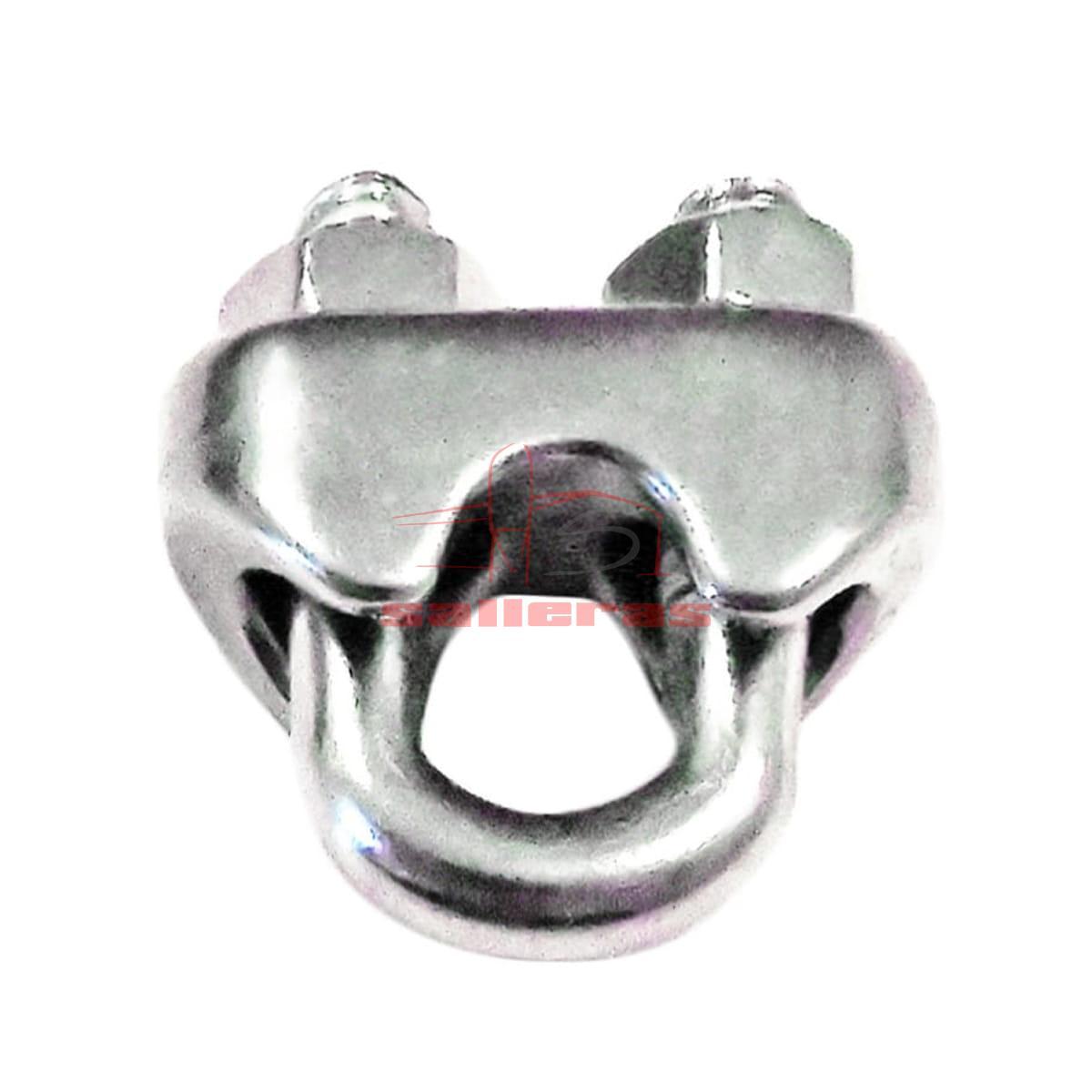 Sujetacable de acero inoxidable con doble tornillo revés