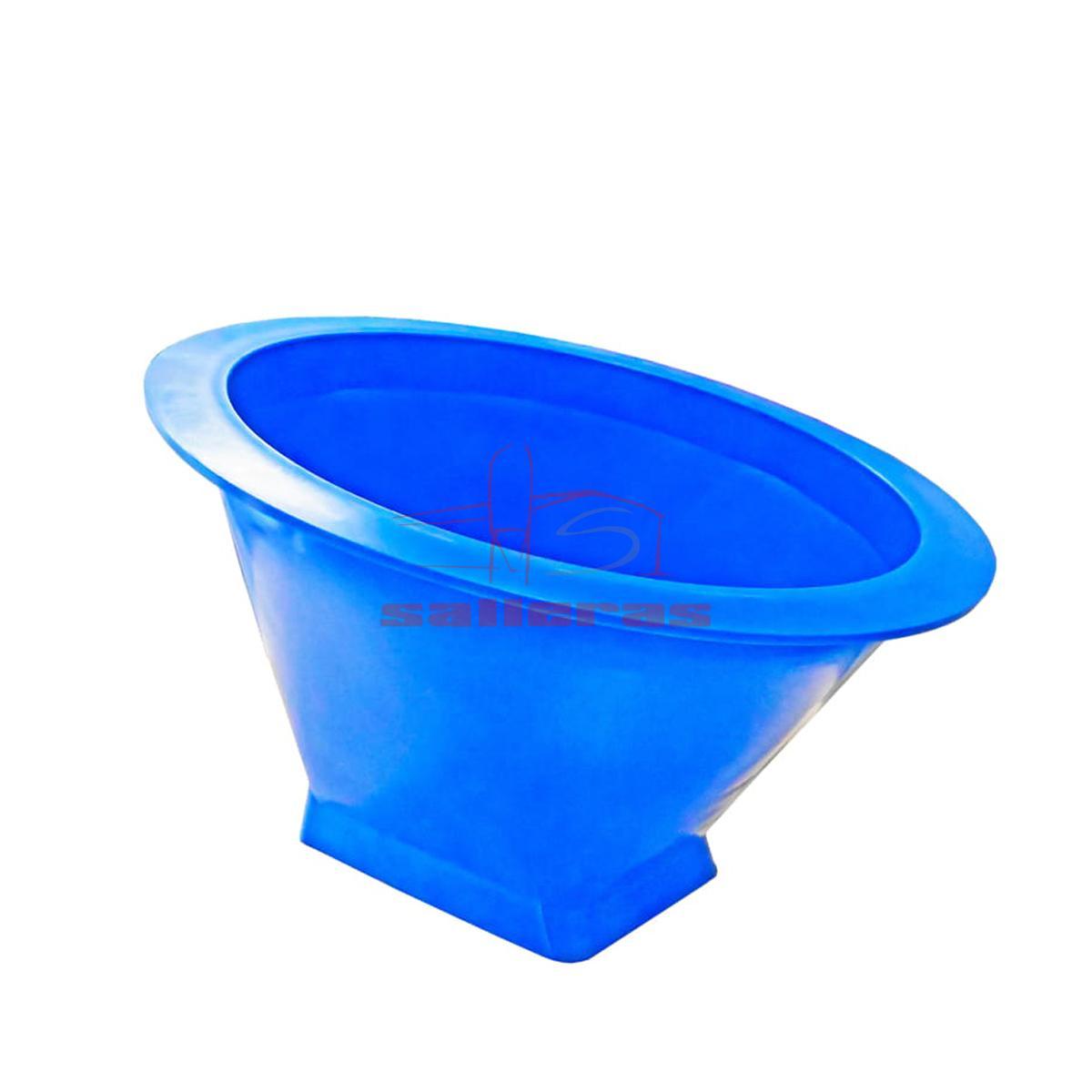 cono azul con boca cuadrada