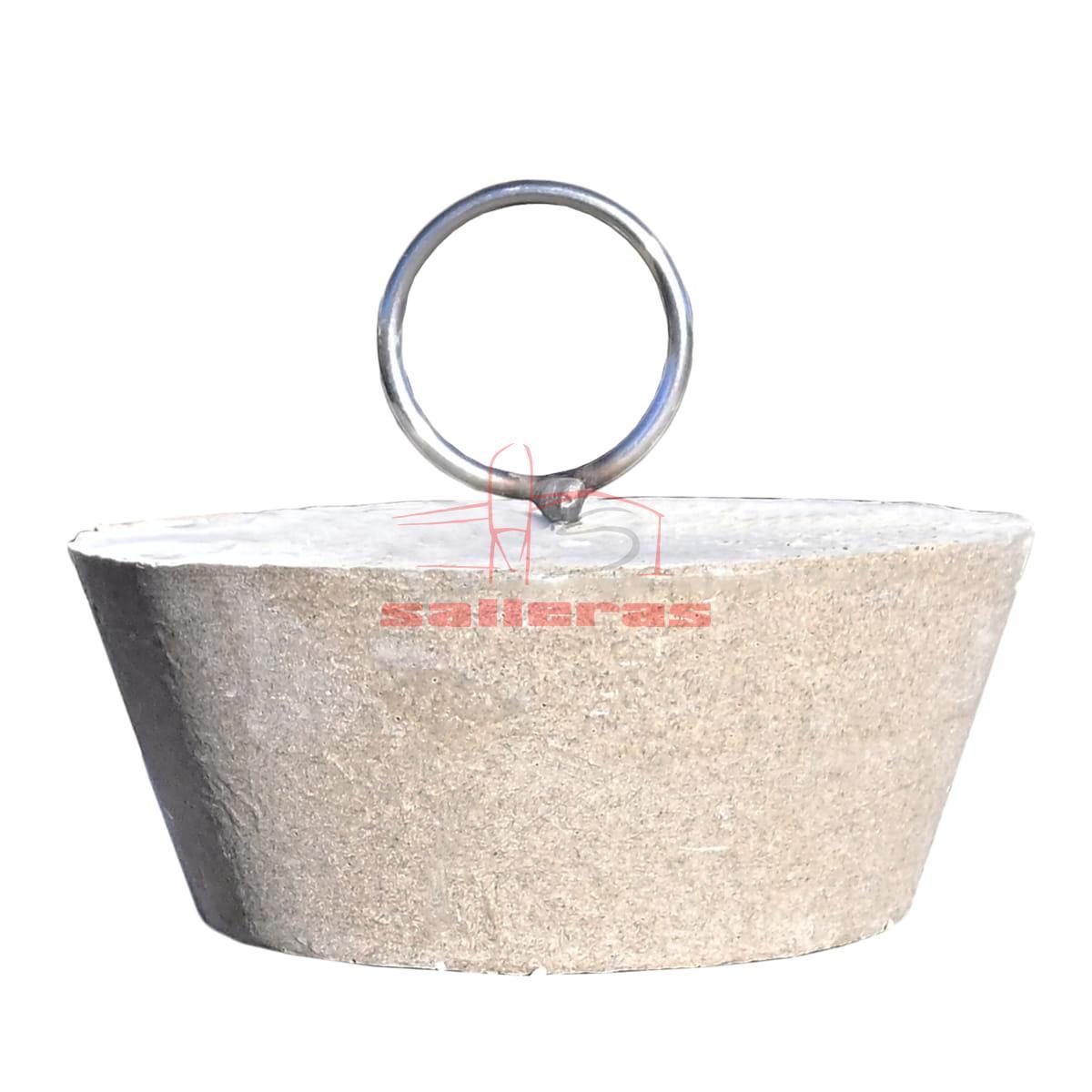 Tapon de desague de polimero circular con asa circular