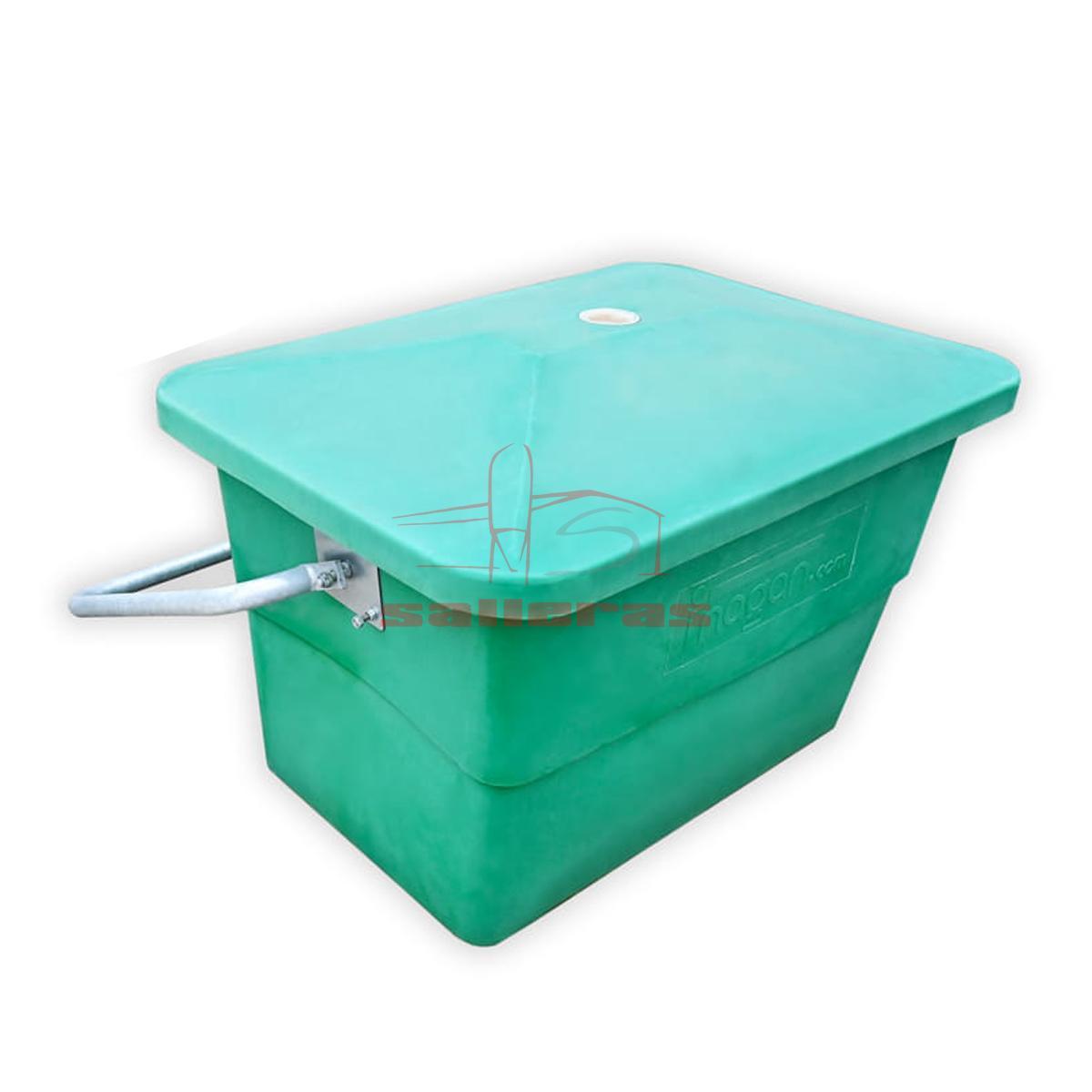 Contenedor de plastico con asa de 440 litros color verde