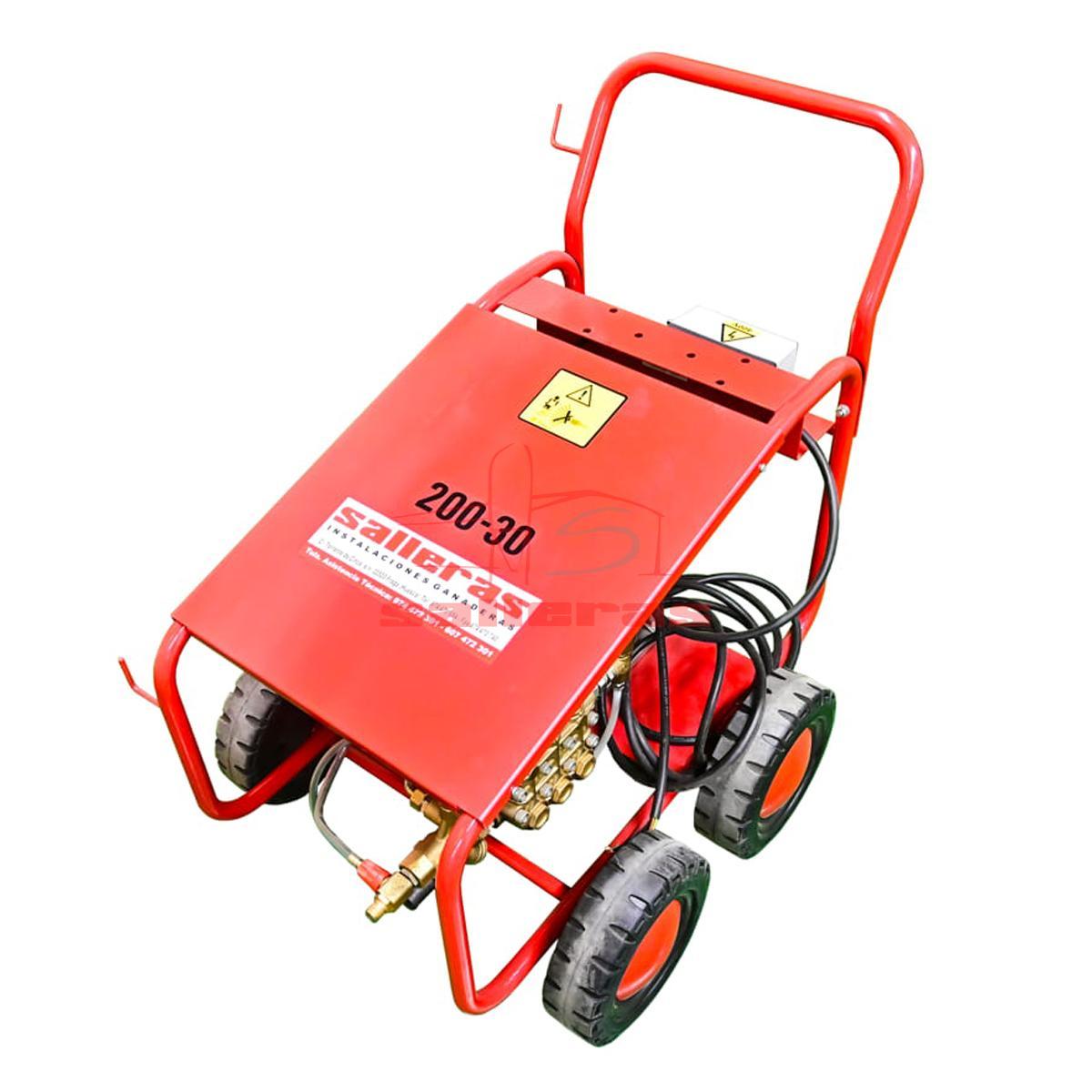 Maquina hidrolimpiadora de cuatro ruedas con asa