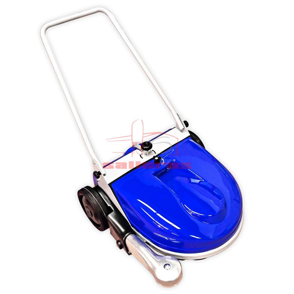 Barredora azul de tipo manual con asa