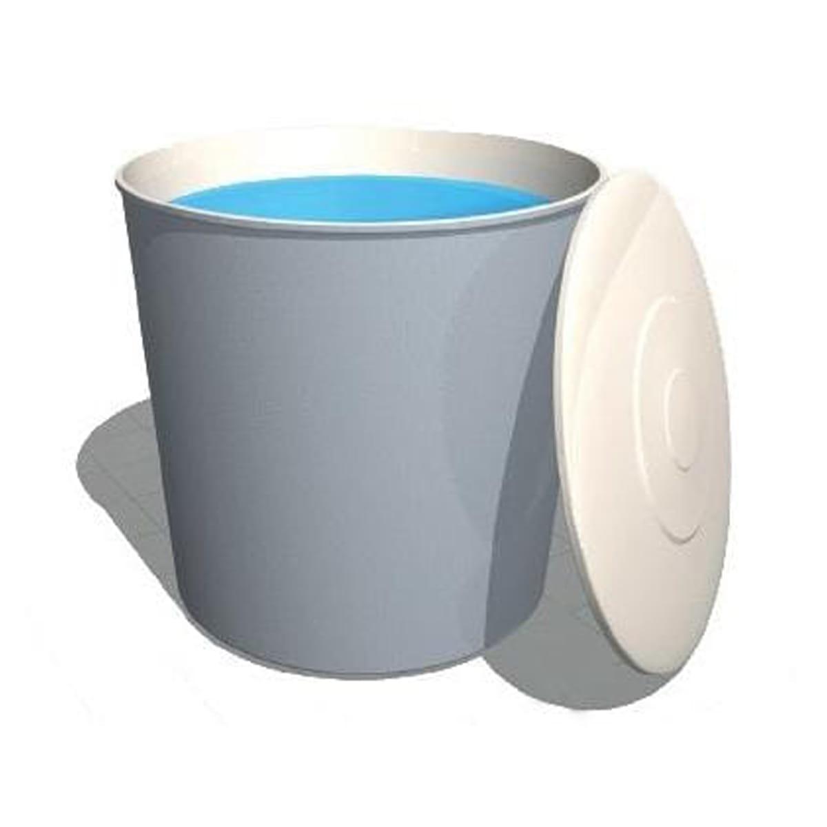 Deposito con tapa abierta de poliester cilindrico