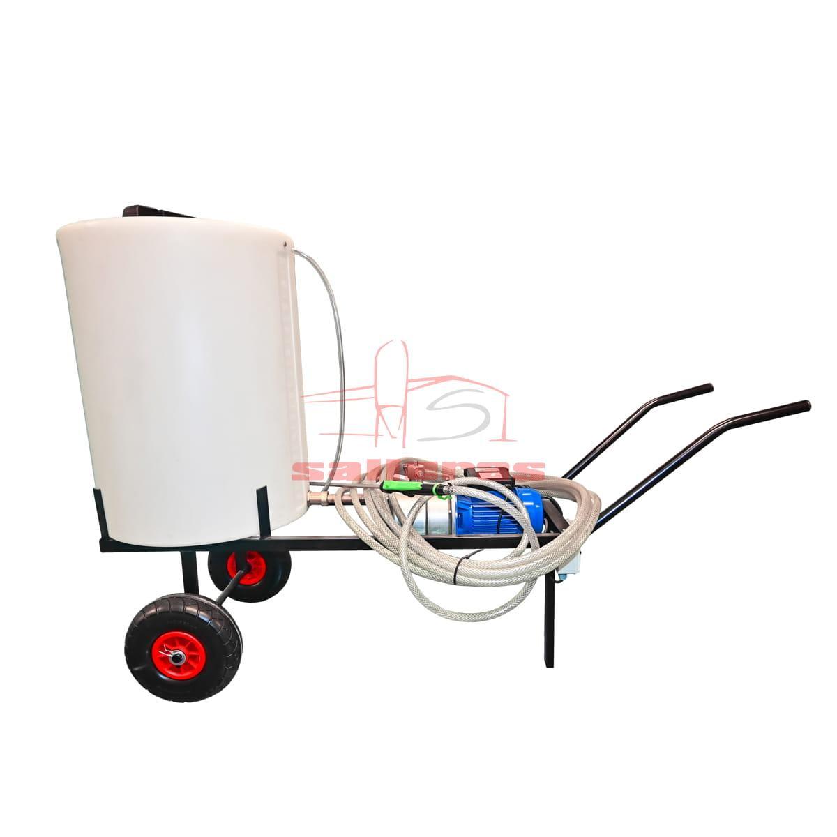 Encaladora de alimentacion electrica con deposito blanco y carro de transporte