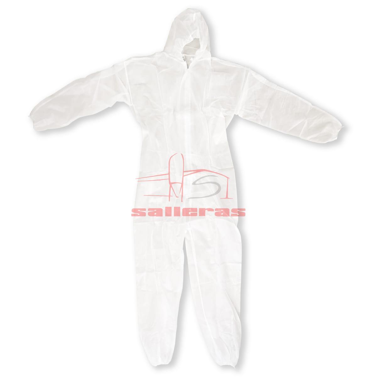 Mono blanco impermeable desechable con capucha