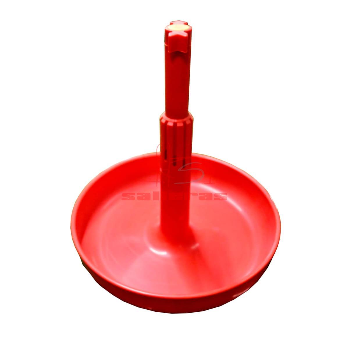Plato recipiente para tolva pequeño de color rojo