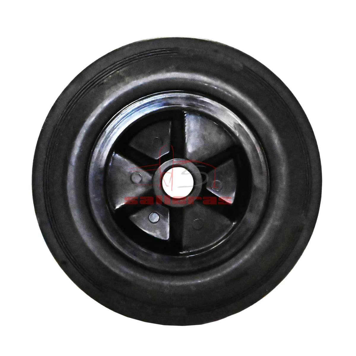 Dos ruedas negras de goma con agujero para vagoneta