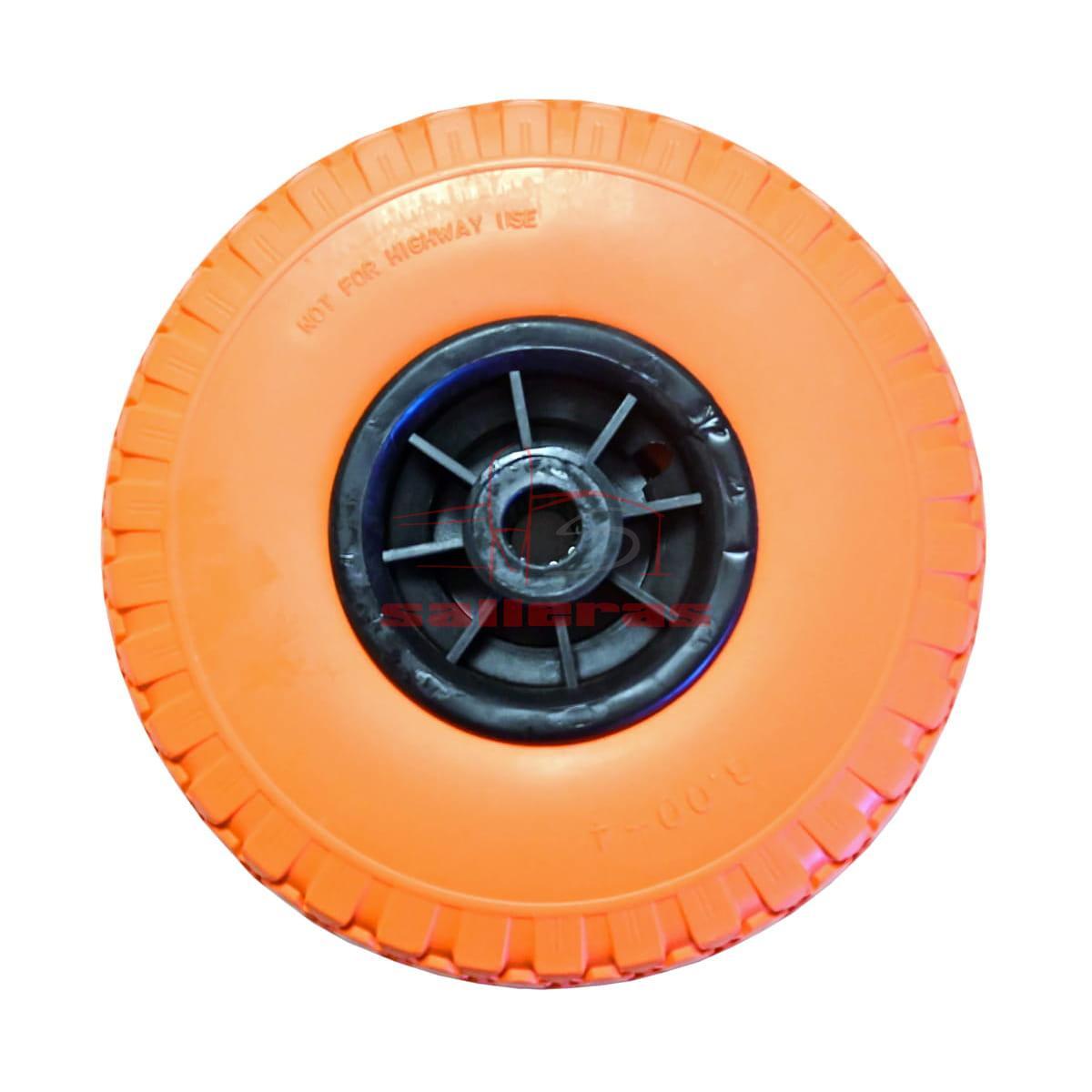 Dos ruedas naranjas gruesas anti pinchazos
