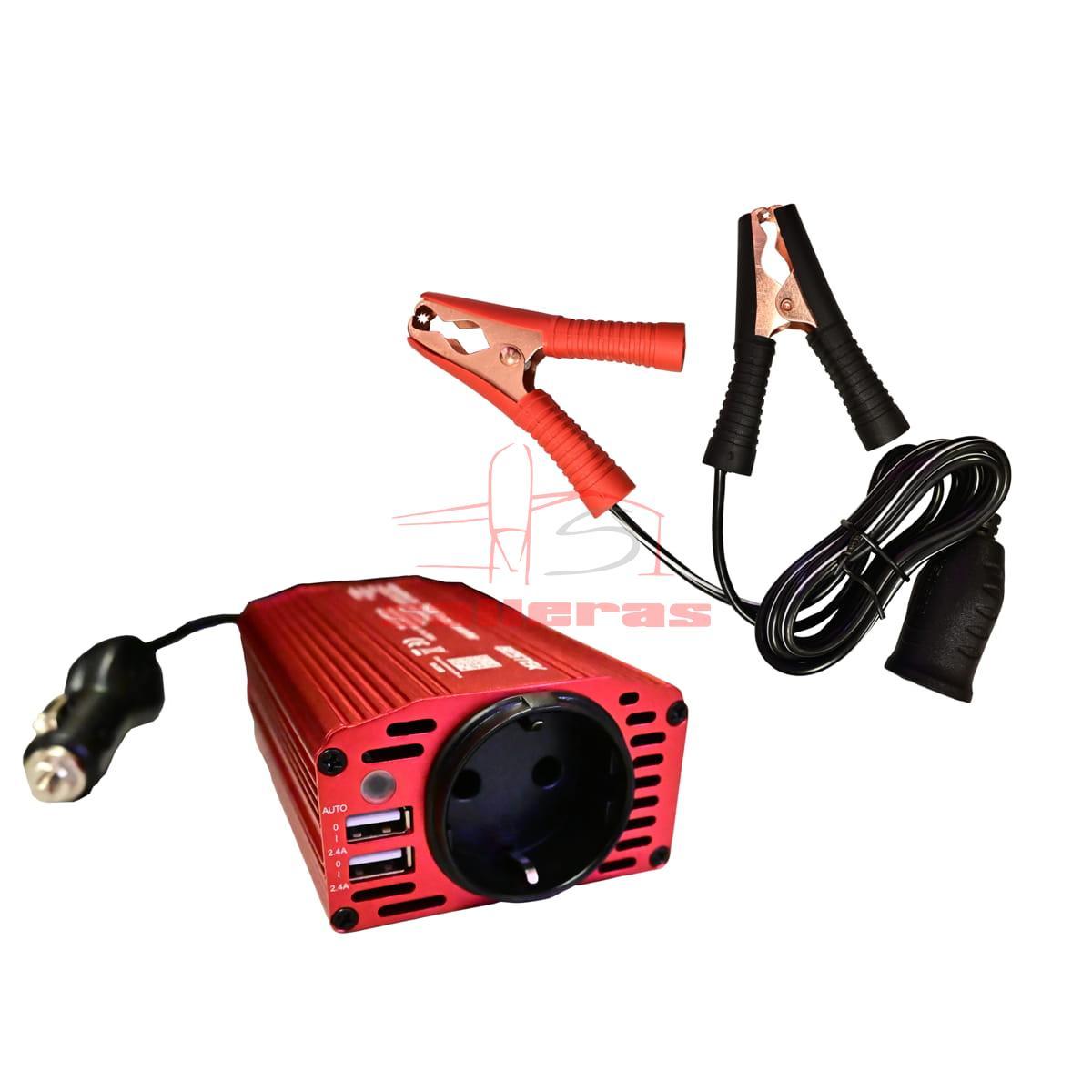 Inversor de corriente rojo 300W con pinzas