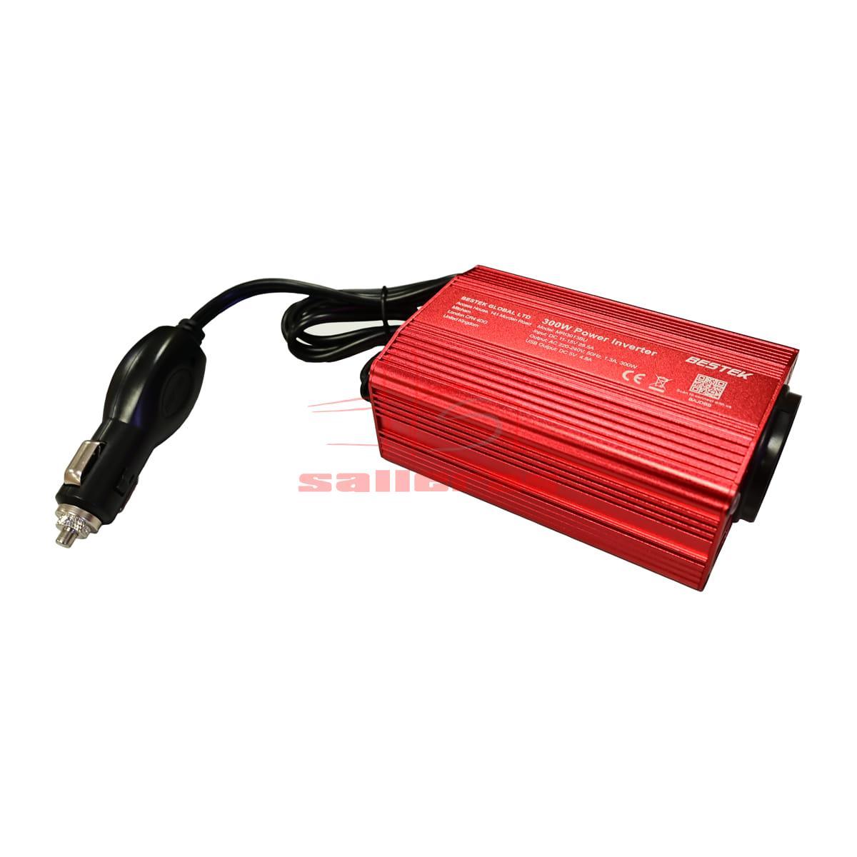 Inversor de corriente rojo 300W con pinzas frente