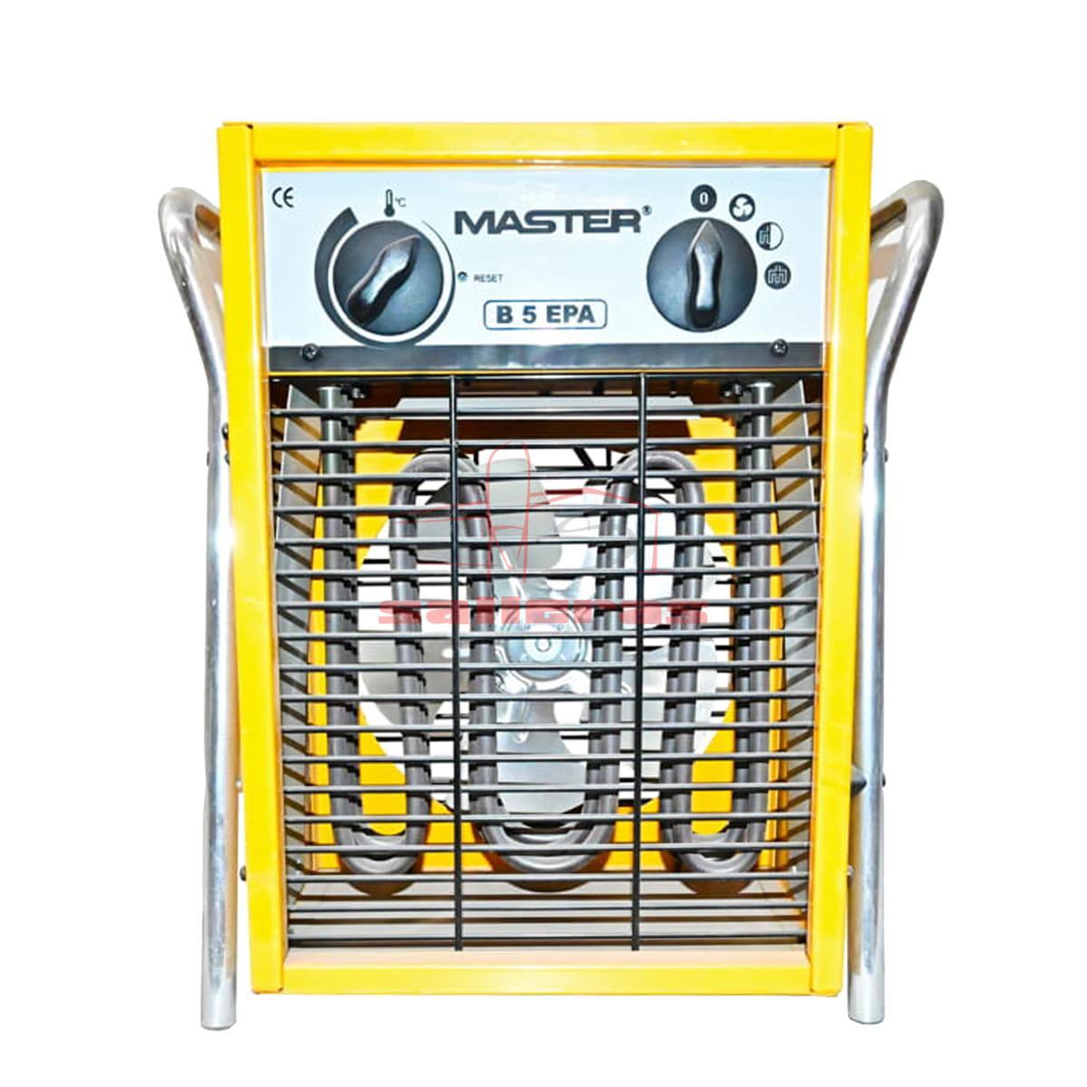 Calentador de aire amarillo con asa