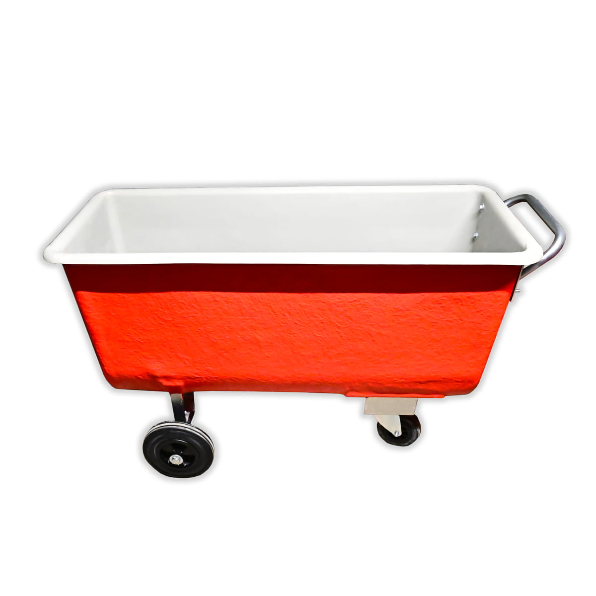 vagoneta de poliester naranja de tres ruedas